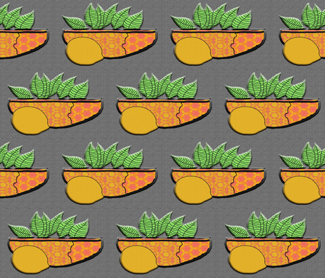 Lemon on Gray fabric by anniedeb on Spoonflower - custom fabric