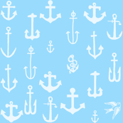 ANCHORS 3, WHITE ON BLUE
