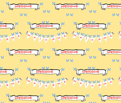 Bluebirds and Bunting fabric by karenharveycox on Spoonflower - custom fabric