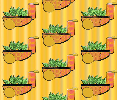 A Lemon, A Bowl of Lemon Leaves, and  Iced Tea fabric by anniedeb on Spoonflower - custom fabric