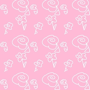 Mini Mod Doodle Flowers Pink Background