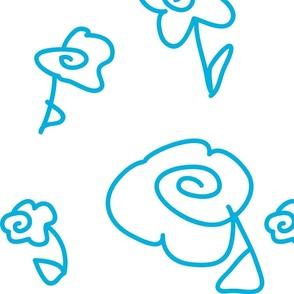 Mod Doodle Flowers Blue