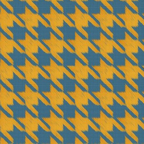 Houndstooth Burlap - Mustard and Blue