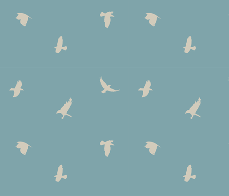crowsblue_taupe-01 fabric by lazydee on Spoonflower - custom fabric