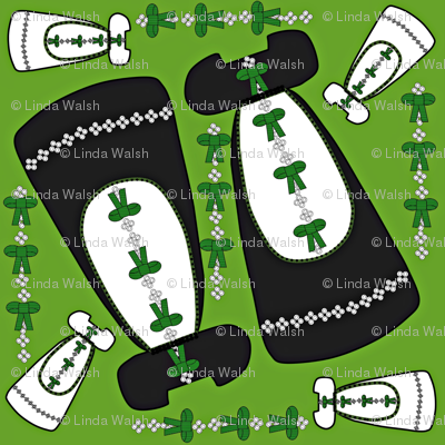 Victorian Long Black and Green Dresses Collage Fabric
