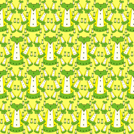 Victorian Lime Green and Yellow Dresses Collage Fabric
