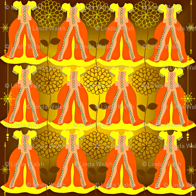 Victorian Orange and Yellow Dresses Collage Fabric
