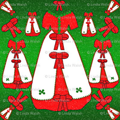 Victorian Christmas Dresses Collage Fabric  #2