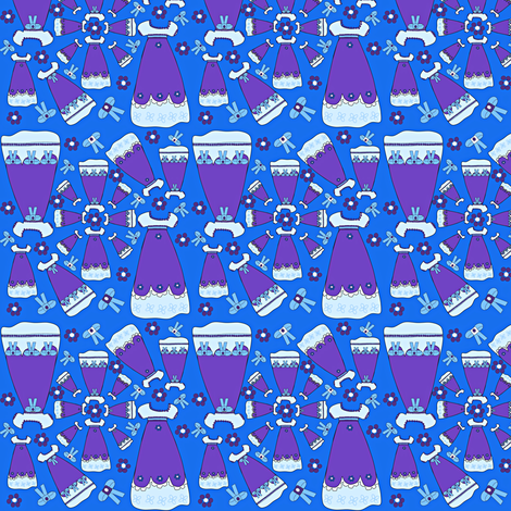 Victorian Blue Dresses Collage Fabric