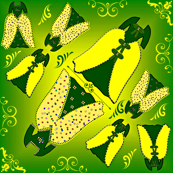 Victorian Green and Yellow Dresses Collage Fabric