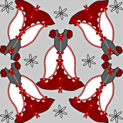 Victorian Red, Gray, and White Dress Fabric