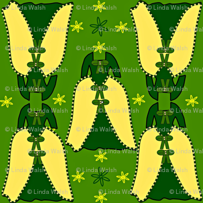 Victorian Green and Yellow Dress Fabric #1