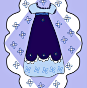 Victorian Blue Dresses Fabric #1