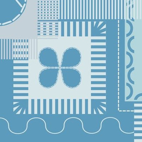 Patches and stitch seamless pattern