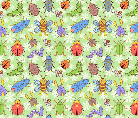 cute insects fabric by kiyanochka on Spoonflower - custom fabric