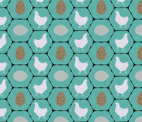 Chicken Coop - Hens & Eggs  fabric by lauriekentdesigns on Spoonflower - custom fabric