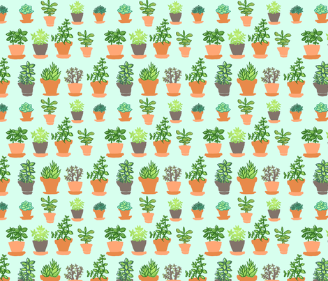 Windowsill Garden Cyan fabric by hugandkiss on Spoonflower - custom fabric