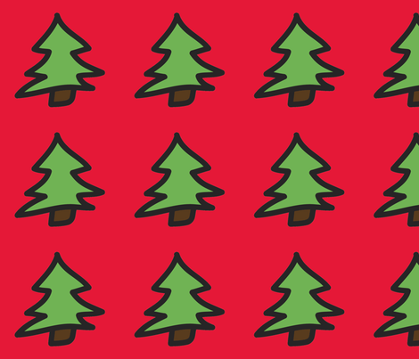 Christmas Tree Red Background fabric by milkmod_studio on Spoonflower - custom fabric