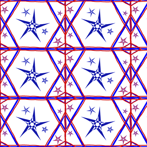 Red White and Blue Stars fabric by ravynscache on Spoonflower - custom fabric