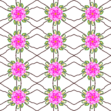 Pink Flower Trellis fabric by ravynscache on Spoonflower - custom fabric
