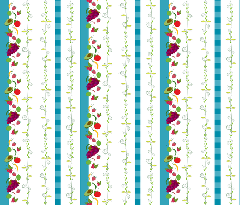 veggiefruit line blue fabric by liluna on Spoonflower - custom fabric