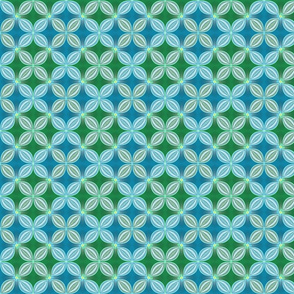 Geometric floral, blue and green