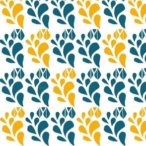 Teal & Mustard Blooms