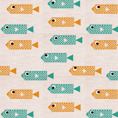 cubist fish fabric by laura_the_drawer on Spoonflower - custom fabric