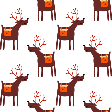 Christmas reindeer fabric by laura_the_drawer on Spoonflower - custom fabric