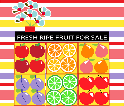 SOOBLOO_FRUITS_FOR_SALE_9-1-01 fabric by soobloo on Spoonflower - custom fabric