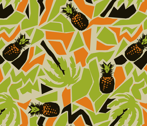 pineapple green fabric by susiprint on Spoonflower - custom fabric