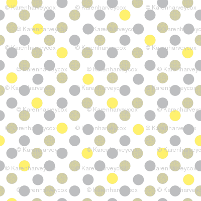 Polka Dot Charm yellow and gray