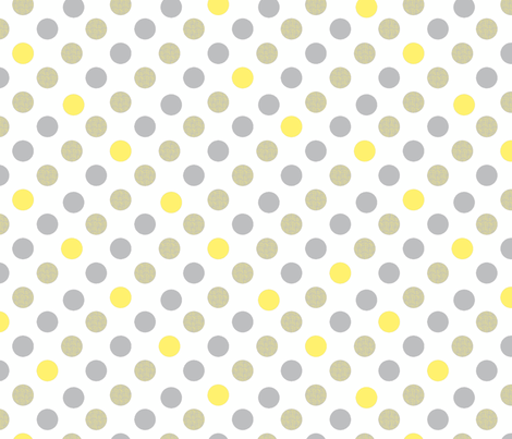 Polka Dot Charm yellow and gray fabric by karenharveycox on Spoonflower - custom fabric