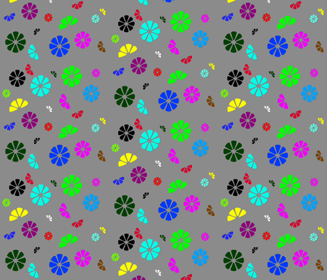 Bloom gray fabric by retroretro on Spoonflower - custom fabric