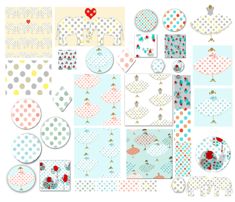 Polka Dot Appliques fabric by karenharveycox on Spoonflower - custom fabric