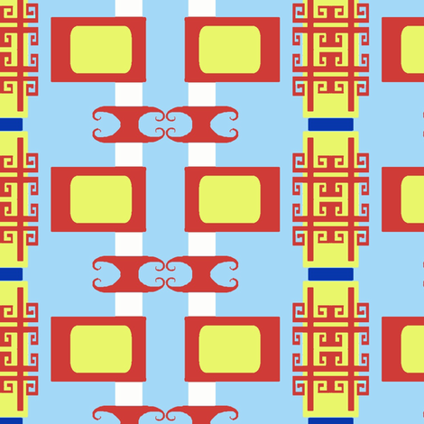 Chinoiserie Fretwork TV Stripes fabric by boris_thumbkin on Spoonflower - custom fabric