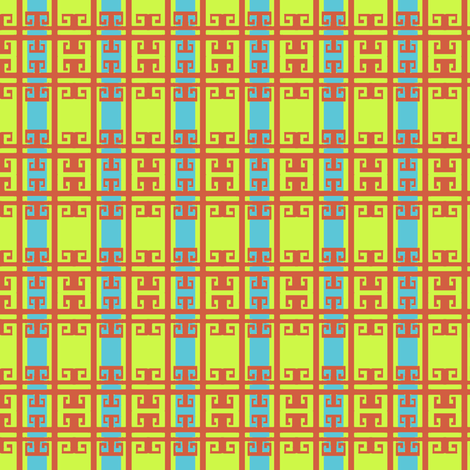 Neon Chinoiserie Fretwork Ribbon Stripes fabric by boris_thumbkin on Spoonflower - custom fabric