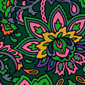 Bright paisley on dark green background