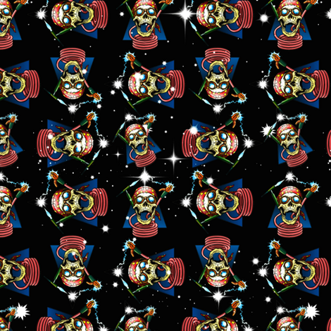 skulls and hoses fabric by whimzwhirled on Spoonflower - custom fabric