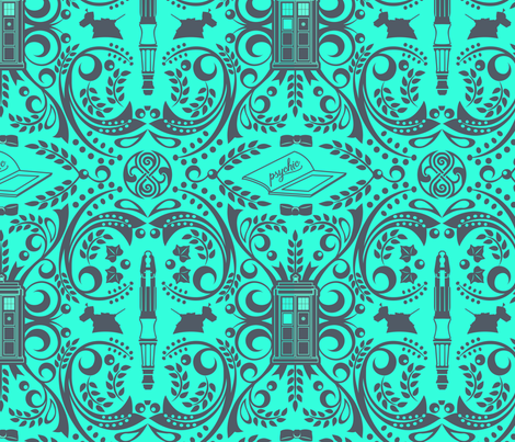 The Doctor's favorite things - seafoam fabric by kdowning on Spoonflower - custom fabric