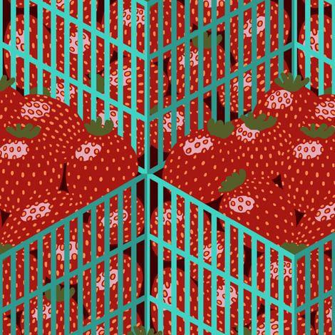 Isometric Strawberry Pints fabric by mongiesama on Spoonflower - custom fabric
