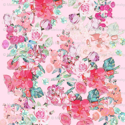 Vintage inspired floral in Peach, Pink, and Mint- on BLUSH