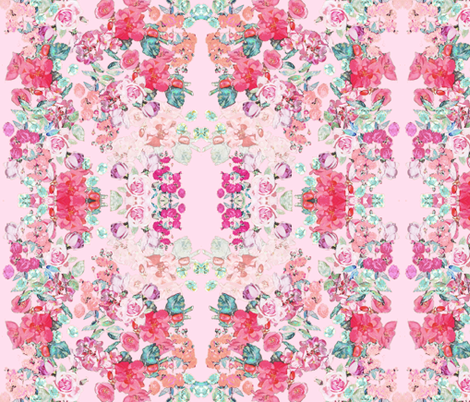 Vintage inspired floral in Peach, Pink, and Mint- on BLUSH  fabric by theartwerks on Spoonflower - custom fabric