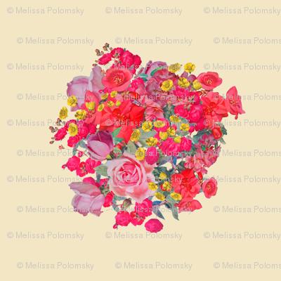 Vintage Inspired Floral Burst on Beige