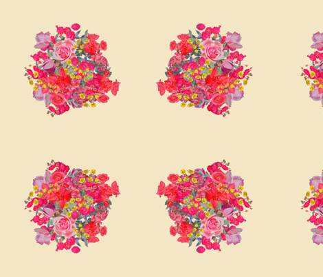 Vintage Inspired Floral Burst on Beige fabric by theartwerks on Spoonflower - custom fabric
