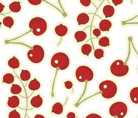 red currants strawberries on white fabric by demonique on Spoonflower - custom fabric