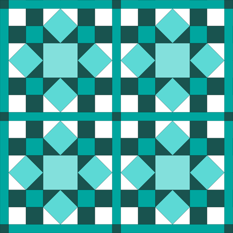 I Spy Dolly Windows -  Aqua & Teal Mini Quilt fabric by rhondadesigns on Spoonflower - custom fabric