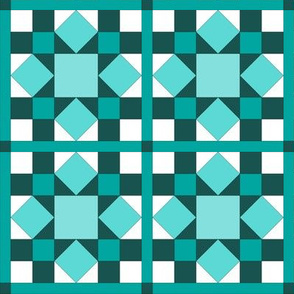 I Spy Dolly Windows -  Aqua & Teal Mini Quilt