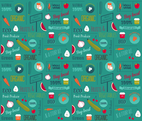 Farmers market - teal fabric by ravynka on Spoonflower - custom fabric