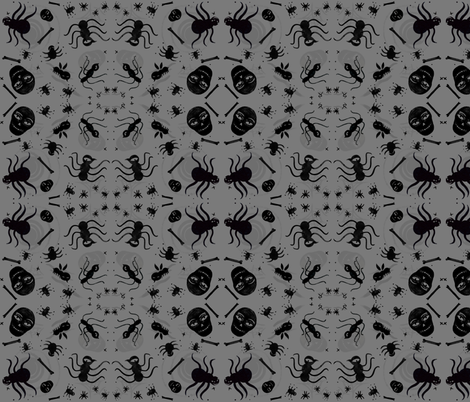 Sculls_n_Spiders_grey fabric by sandie_tee on Spoonflower - custom fabric